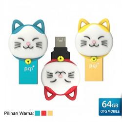 PQI Connect 303 Lucky Cat OTG Flashdisk Karakter Kucing - 64GB