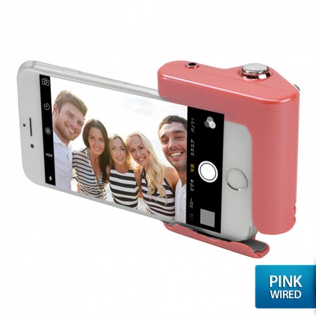 OptimuZ Wired Selfie Hero Hand Grip Shutter for Smartphone - Putih-Pink