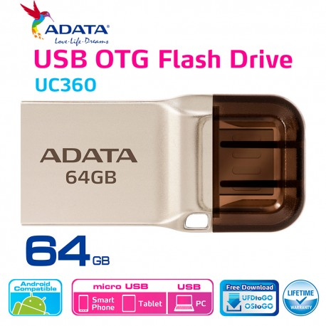 ADATA UC360 - Flashdisk OTG USB 3.1 Super Speed - 64GB Gold