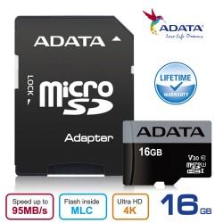 ADATA V30S 16GB Premier Pro microSDHC UHS-I U3 Class 10 - 95MBps Memory Card + Adapter