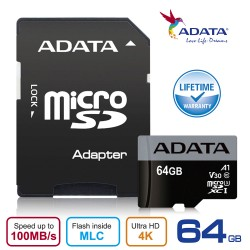 ADATA V30S Premier Pro microSDHC UHS-I U3 Class 10 - 100MBps Memory Card + Adapter