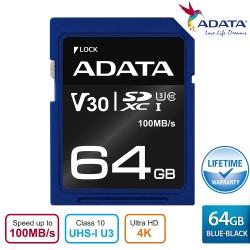 ADATA V30S SDXC UHS-I U3 Class10 R100 W60 Premier Pro