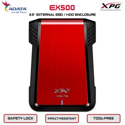 ADATA XPG EX500 External Enclosure SATA 2,5inch USB3.1 - Red