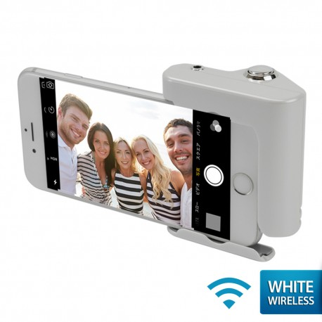 OptimuZ Wireless Selfie Hero Hand Grip Shutter for iPhone Siri - White