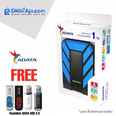 ADATA H710 Pro - 1TB Biru- Hard Disk Eksternal USB3.1 Anti-Shock & Waterprooff
