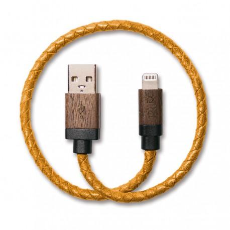 ALTO Kabel Data & Charger Lightning Braided Kulit Asli + Kayu - Apple MFi-Certified – 0.3 Meter Brown