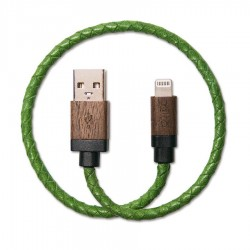 ALTO Kabel Data & Charger Lightning Braided Kulit Asli + Kayu - Apple MFi-Certified – 0.3 Meter Green