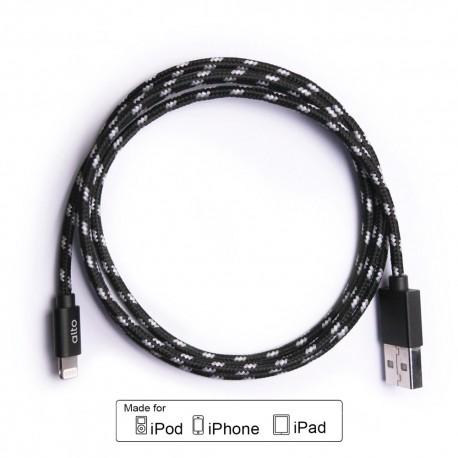 ALTO Kabel Data & Charger Lightning Fabric Braided - Apple MFi-Certified – 1meter Black