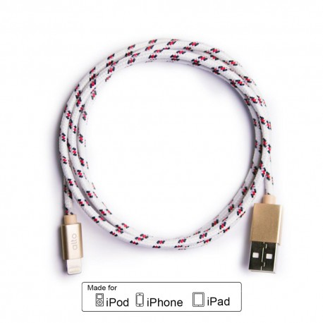 ALTO Kabel Data & Charger Lightning Fabric Braided - Apple MFi-Certified – 1meter White-Gold