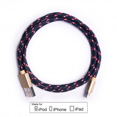 ALTO Kabel Data & Charger Lightning Fabric Braided - Apple MFi-Certified – 1meter Navy-Gold