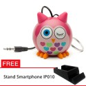 OptimuZ Mini Buddy Portable Speaker Character - Owl Pink - FREE Stand HP