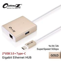 OptimuZ USB HUB 2xUSB3.0 + Type-C + Gigabit Ethernet LAN Port – Gold
