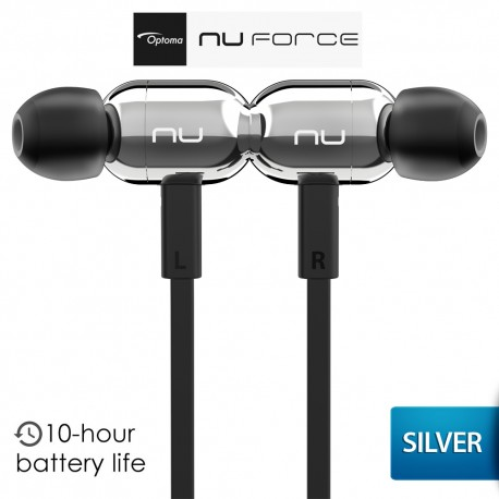 OPTOMA NuForce BE Live2 Earphone Wireless Bluetooth Audio - Silver