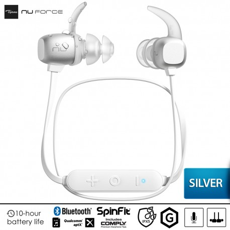 Optoma NuForce BE Sport 4 Premium Wireless Sport Earbuds - Silver