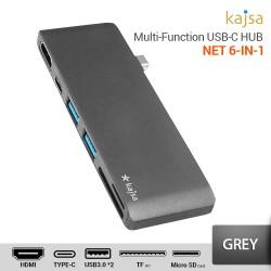 Kajsa HUB USB Tipe-C NET 6 in 1 – Abu-abu