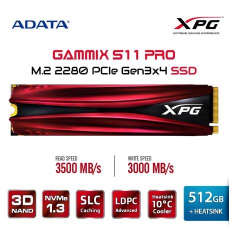 Adata XPG SSD 512GB Gammix S11 Pro PCIe Gen3x4 M.2 2280 Heatsink