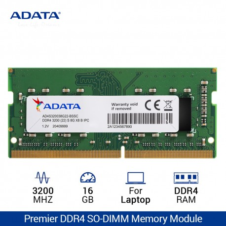 ADATA Premier DDR4 3200MHz SO-DIMM RAM untuk Laptop – 16GB Hijau