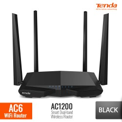 TENDA AC6 Router WiFi AC1200 Smart Dual-Band - Hitam
