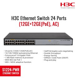 H3C S1224-PWR Ethernet Switch 24 Port (12GE + 12GE (PoE), AC)