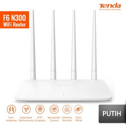 TENDA F6 Router Wireless N300 Repeater Multi Language Firmware - Putih