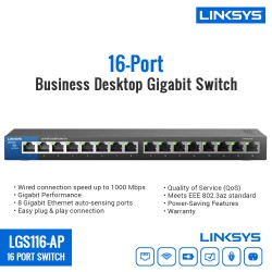 Linksys LGS116-AP 16-Port Business Desktop Gigabit Switch