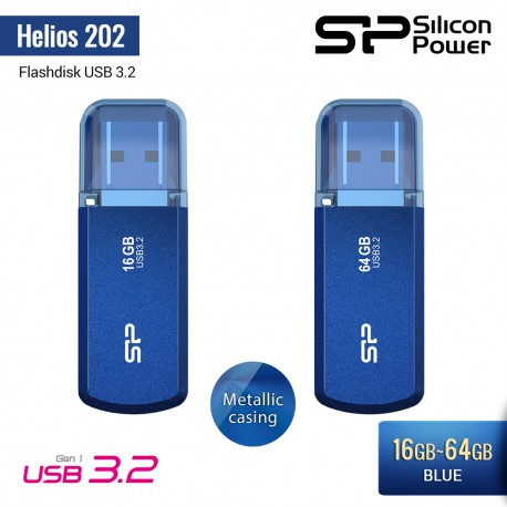 Silicon Power Helios 202 Flashdisk USB3.2 - 16GB-64GB Blue