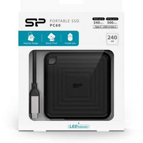 Silicon Power SSD Eksternal PC60 Type-C ke USB3.2 - 240GB