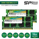 Silicon Power DDR3 1600MHz CL11 PC3-12800 SO-DIMM RAM Laptop - 16GB