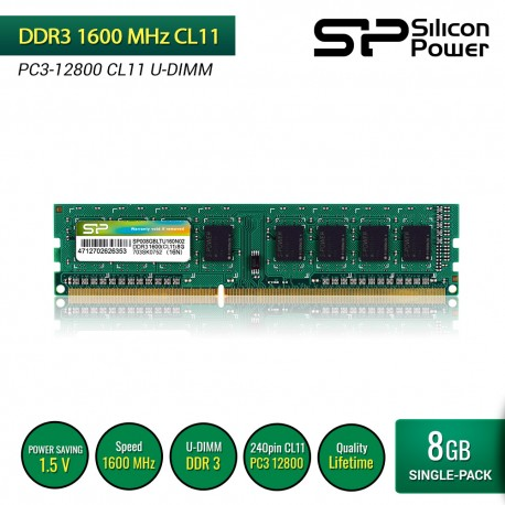 Silicon Power DDR3 1600MHz CL11 PC3-12800 UDIMM - 8GB