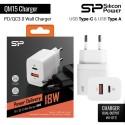 Silicon Power Wall Charger QM15 18W USB QC3.0 + USB Type-C - Putih