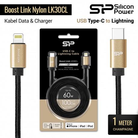 Silicon Power Kabel USB-C ke Lightning Boost Link Nylon LK30CL - 1m Champagne