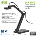 IPEVO V4K PRO UHD USB Kamera Dokumen dengan AI-Enhanced Mic- Abu-abu