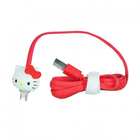 Kabel Data Micro USB LED Karakter Hello Kitty