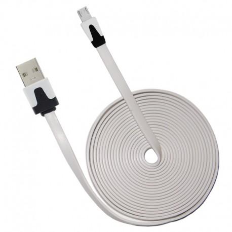 OptimuZ Cable Noodle Flat for Micro USB – White 1m