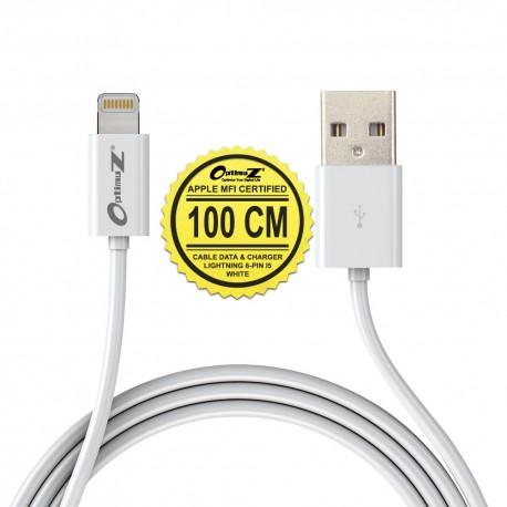 OptimuZ Kabel Lightning 8-pin i5 Apple MFI Certified – 1M Putih