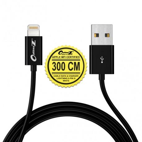 OptimuZ Kabel Lightning 8-pin i5 Apple MFI Certified – 3M Hitam