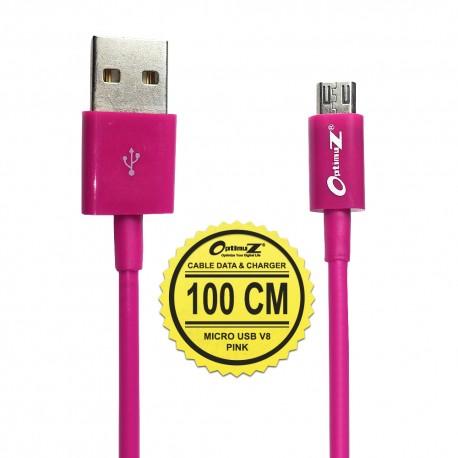 OptimuZ Kabel Micro USB V8 - 1M Merah Muda