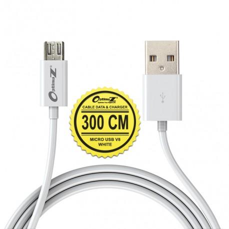 OptimuZ Kabel Micro USB V8 - 3M Putih
