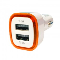 Car Charger 2 USB port Power Adapter Colorful LED Light 3.1 A - Putih Orange