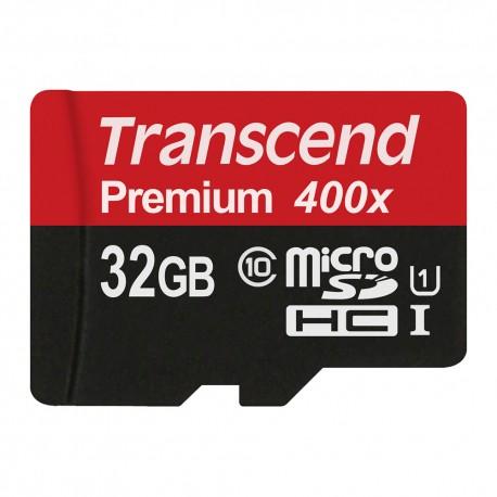 Transcend MicroSDHC Class 10 UHS-I 400x (Premium) + SD Adapter - 8GB-64GB