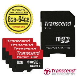 Transcend Memory Card Micro SDHC Class 10 UHS-I 400x + SD Adapter - 8GB-64GB
