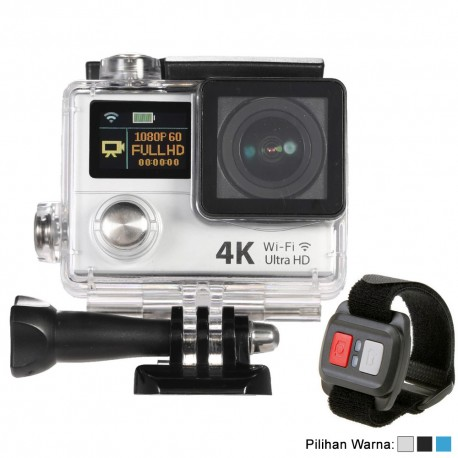 Action Camera 4K Ultra HD 1080p - Dual Screen + Remote