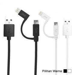 PQI i-Cable Du-Plug 90 Kabel Data & Charging - Hitam & Putih
