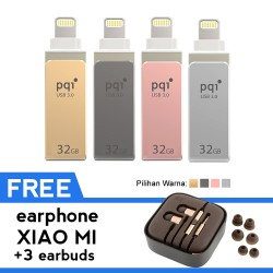Pqi iConnect Mini Flashdisk OTG Lightning Apple & USB 3.0 - 32GB + FREE Earphone Xiaomi