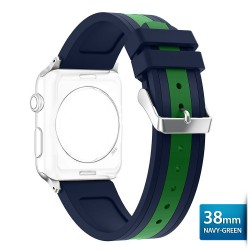 OptimuZ Sport Dual Tone Watch Band Strap Silicone for Apple Watch - 38mm Navy-green