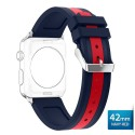OptimuZ Sport Dual Tone Watch Band Strap Silicone for Apple Watch - 42mm Navy-red
