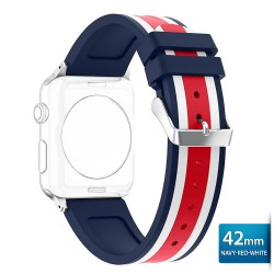 OptimuZ Sport Dual Tone Watch Band Strap Silicone for Apple Watch - 42mm Navy-red-white