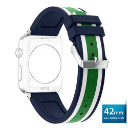 OptimuZ Sport Dual Tone Watch Band Strap Silicone for Apple Watch - 42mm Navy-green-white
