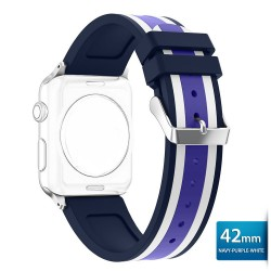 OptimuZ Sport Dual Tone Watch Band Strap Silicone for Apple Watch - 42mm Navy-purple-white