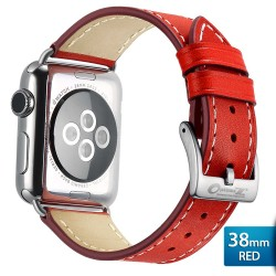OptimuZ Premium Genuine Italy Leather Watch Band Strap for Apple Watch - 38mm Red